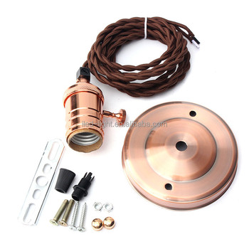 Newest E27 Retro Vintage Edison Pendant Metal Lamp Holder Copper Hanging Ceiling Rose Light Bulb Fixture With Sucker 110-240V