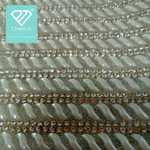 6ba6a1bee0 Hot Sale Embroidery Mesh Rhinestone Applique Crystal Beads Applique For  Wedding Dress