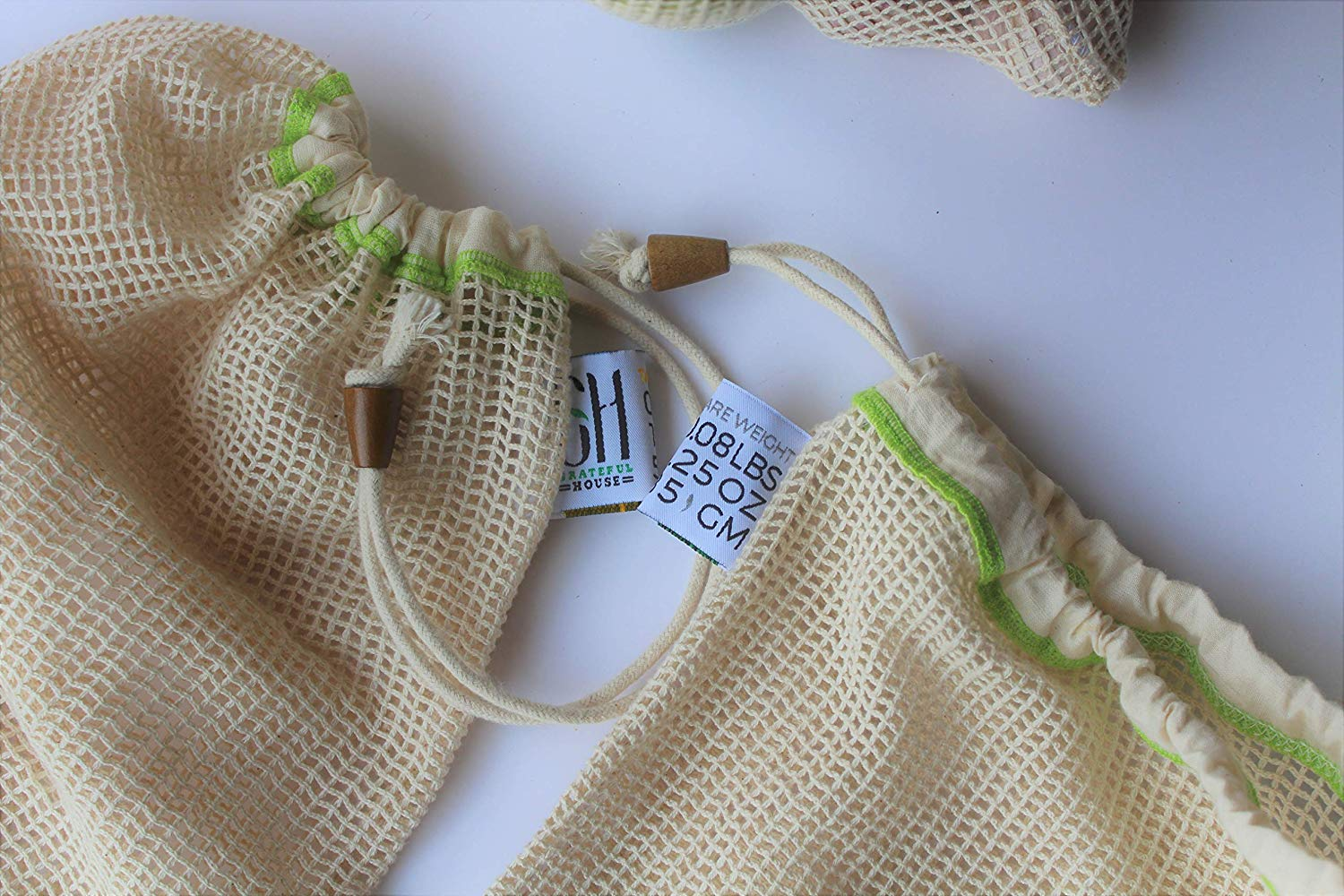 Durable and Machine produce bags Organic Cotton Unbleached Mesh and Muslin bag with tare weights on tags