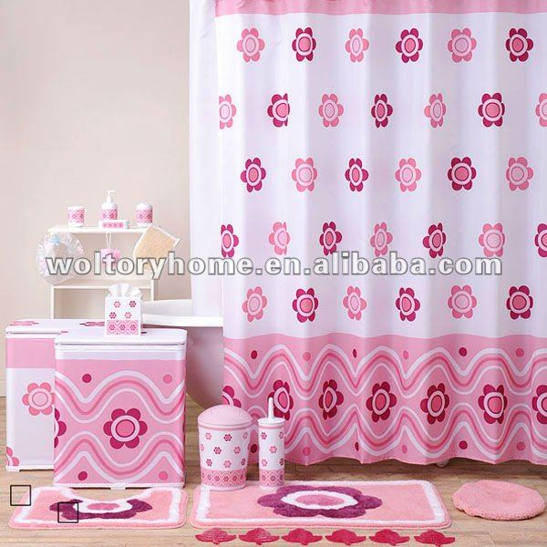 Pink Flower Bathroom Products Bath SetChildlike Pretty Shower Curtain Floor Door Mat Set