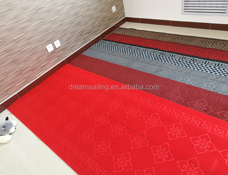 custom embossed design hotel corridor red carpet with pvc backing