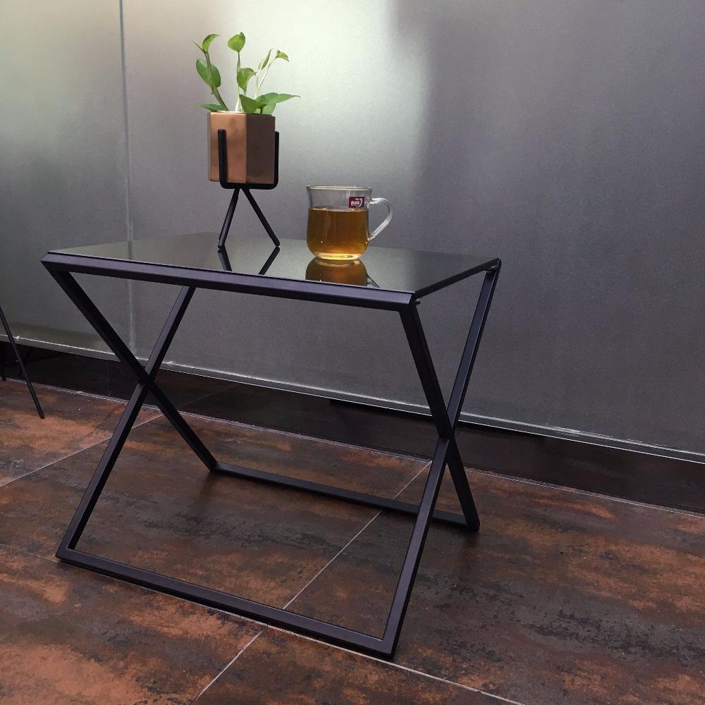 Modern classic furniture x tea table stainless steel and glass coffee side table for living room