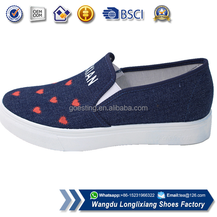 Rubber sole women low price canvas shoes