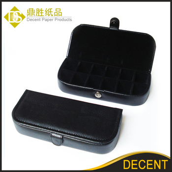 YIWU DECENT Black PU Leather Wholesale Cufflinks Storage Box Case
