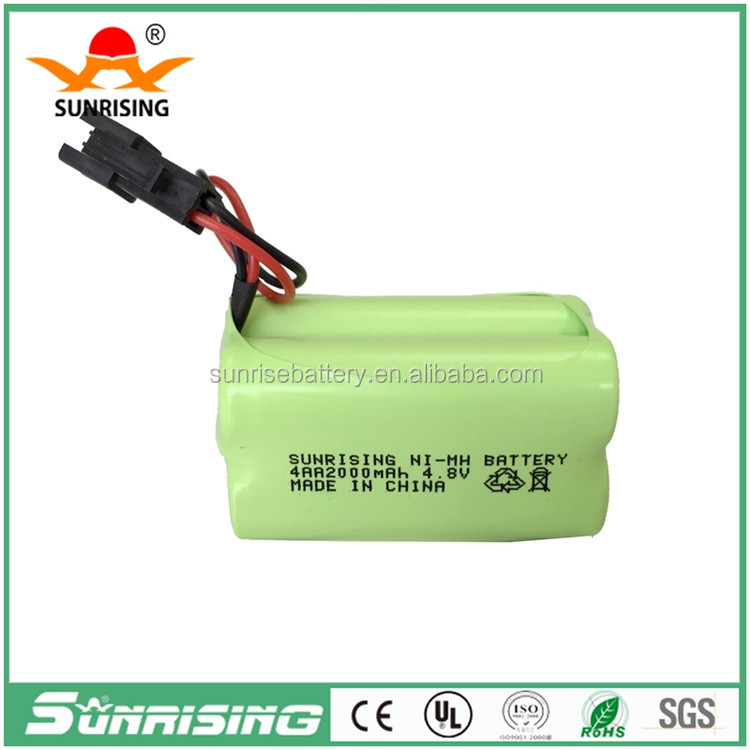 China 4.8v aa 2000mah nimh rechargeable battery pack/rechargeable nimh battery pack aa 4.8v for emergency light battery