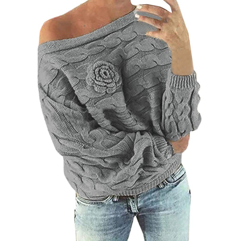 POTO Sweaters,Women's Cold Shoulder Stripe Flower Sweater Knitted Tops Loose Pullover Sweatshirt Knit Jumper Blouse