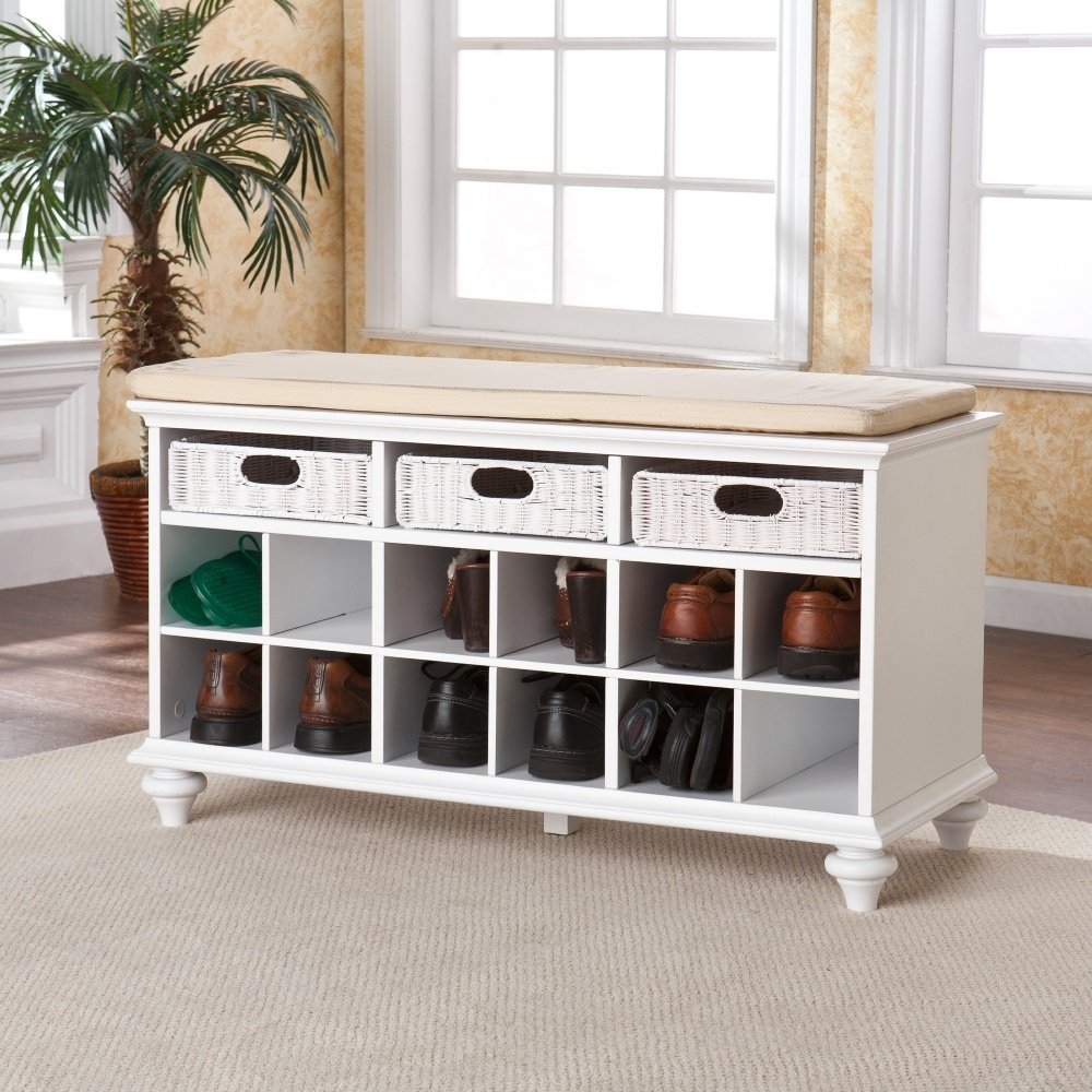 Get Quotations Indoor White 12 Shoe Storage Bench With Padded Seat And Rattan Drawers