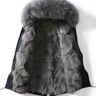 Korean Fashion Winter Coat With Fox Fur Hood And Real Fox Fur Lined Black Mens Parka Jacket