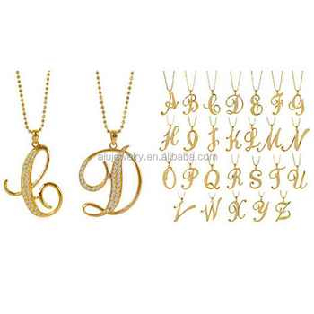 Gold tone letter design charm pendant necklace choices a to z gold tone letter design charm pendant necklace choices a to z aloadofball Image collections