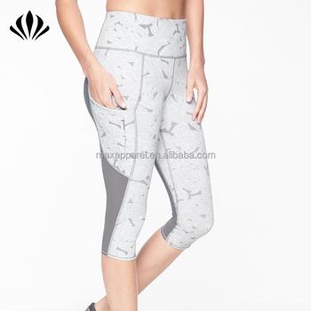 922831a19fc7c5 Women nylon/spandex high waist capri yoga leggings custom printed gym  leggings with side pockets