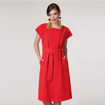 Woman Clothes Red Formal Midi Office dress