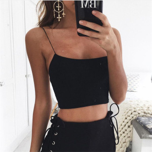 ZH2630G Women Strappy Cami Top Sexy Spaghetti Strap Camis Summer Black Noir Tank Top Tees Clothing Vest Clothes