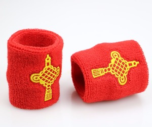 Happy China Lucky knot embroidery custom terry elastic sports sweat wristband