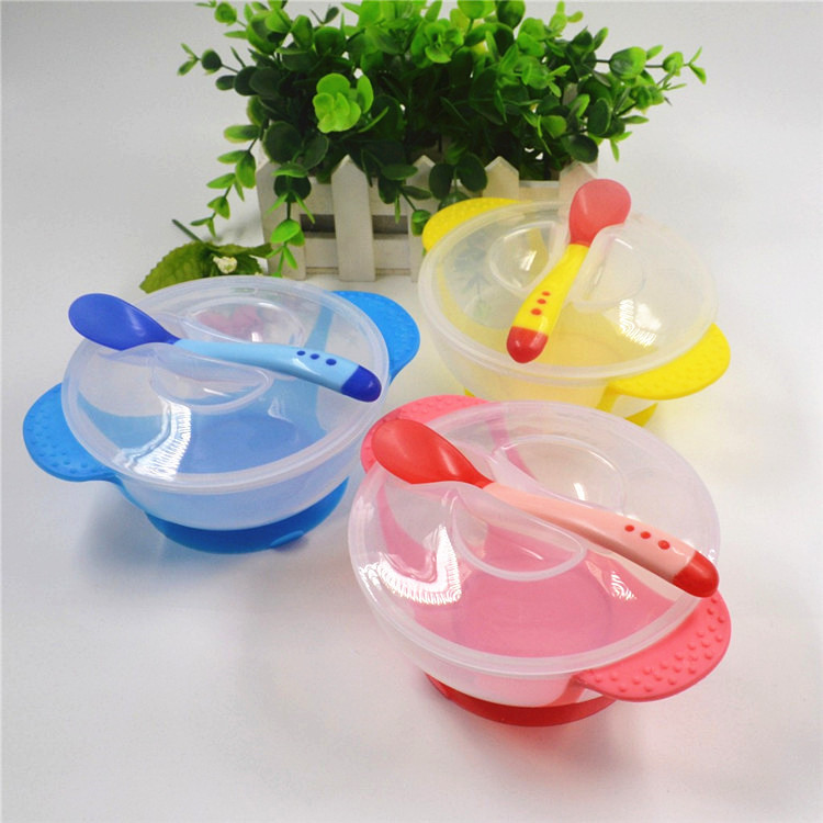 3Pcs Baby Bowl Set Baby Learnning Dishes with Suction Cup Temperature Sensing Spoon Baby Tableware