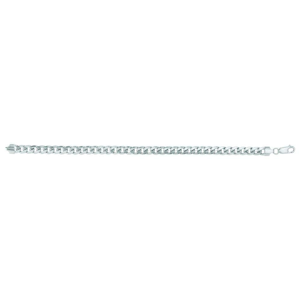 14k 8.5 Inch White Gold 6.7mm Lite Miami Cuban Chain Link Bracelet With Lobster Lock