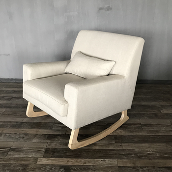 Customized Accent Solid Wooden Fabric Rocking Chairs For Adult