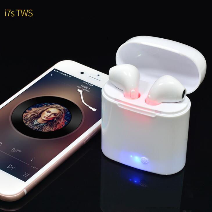 i7S TWS Double Twins Earpiece Blue tooth Wireless Mini In-Ear Sports Earphone With 2 True Wireless Stereo Earbuds & Charging Box