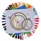 Full Set of Embroidery Starter Kit 50 Colors Cross Stitch Threads +3 Wooden Hoop