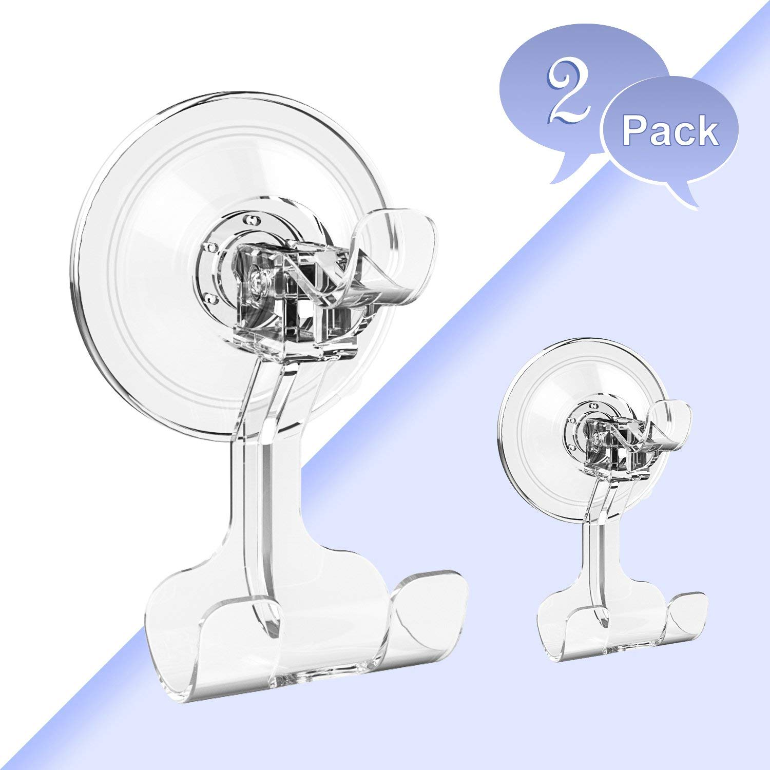 BUDGET & GOOD Suction Cup Hooks Heavy Duty Suction Hooks and Razor Holder for Shower Waterproof Wreath Hanger for Towel Robe Loofah Bathroom and Kitchen Accessories, 2 Pack Clear