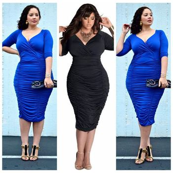 Foreign trade adicolo L V waist deep color package hip dress Plus Size dress for women