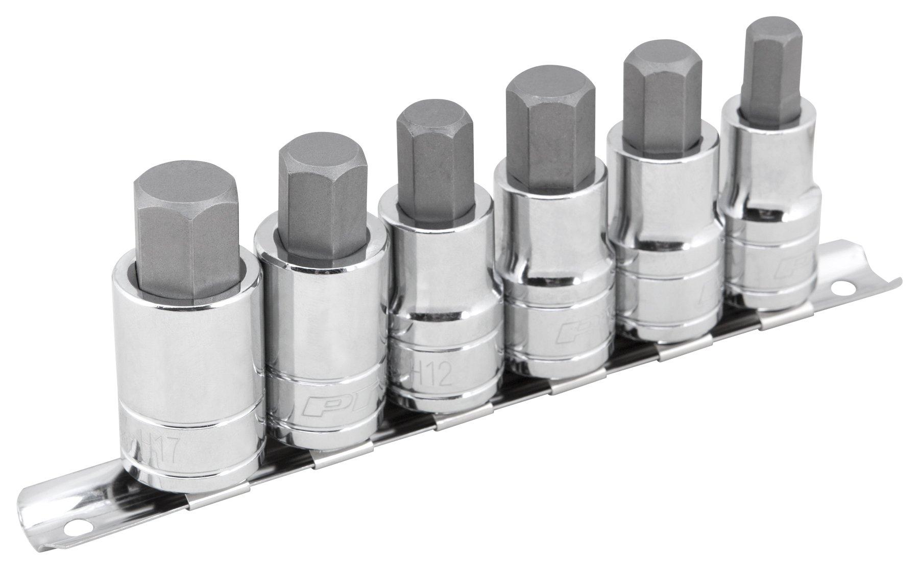 "Performance Tool W38886 6 Piece 1/2 Drive Large Hex Bit Socket Set 3/8"", 1/2"", 9/16"", 12 mm, 14 mm, 17 mm, NULL"