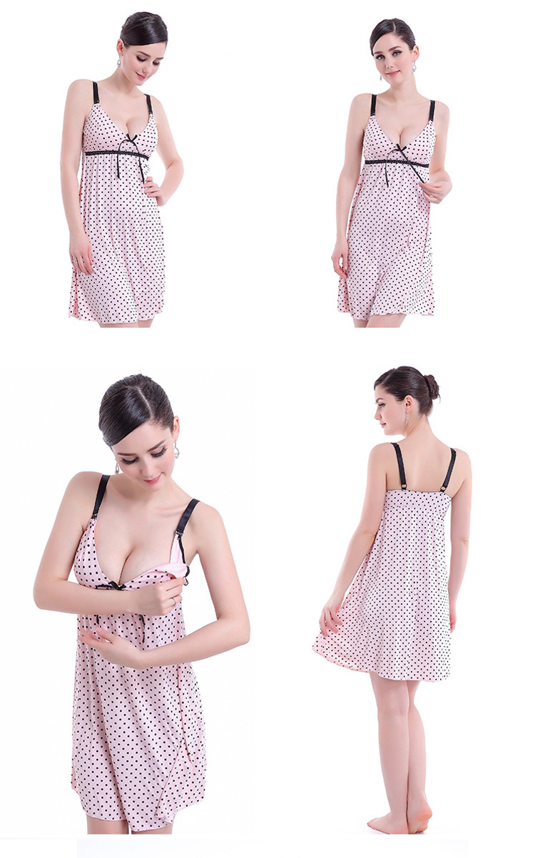 Summer Sexy Maternity Slip Dress Pregnant Women Sleepwear Silk Breastfeeding Camilose