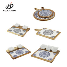 Non-slip wooden base custom printed ceramic serving tray with sauce dish