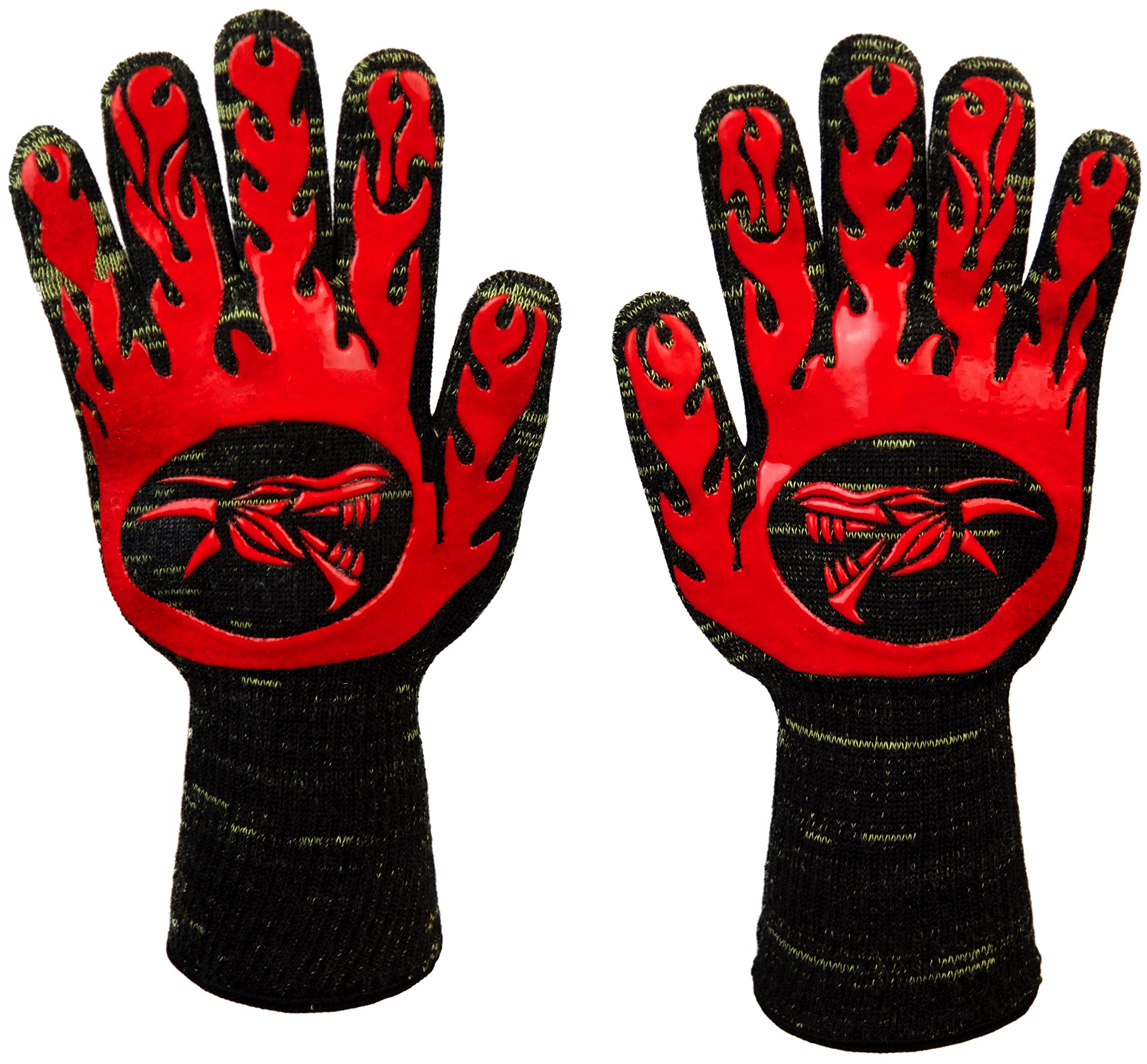 a8f82e308aa95e Get Quotations · Heat Resistant BBQ Gloves by Dragon Knuckle Oven Mitts EN  407 932ºF - Grilling Barbecue Charcoal