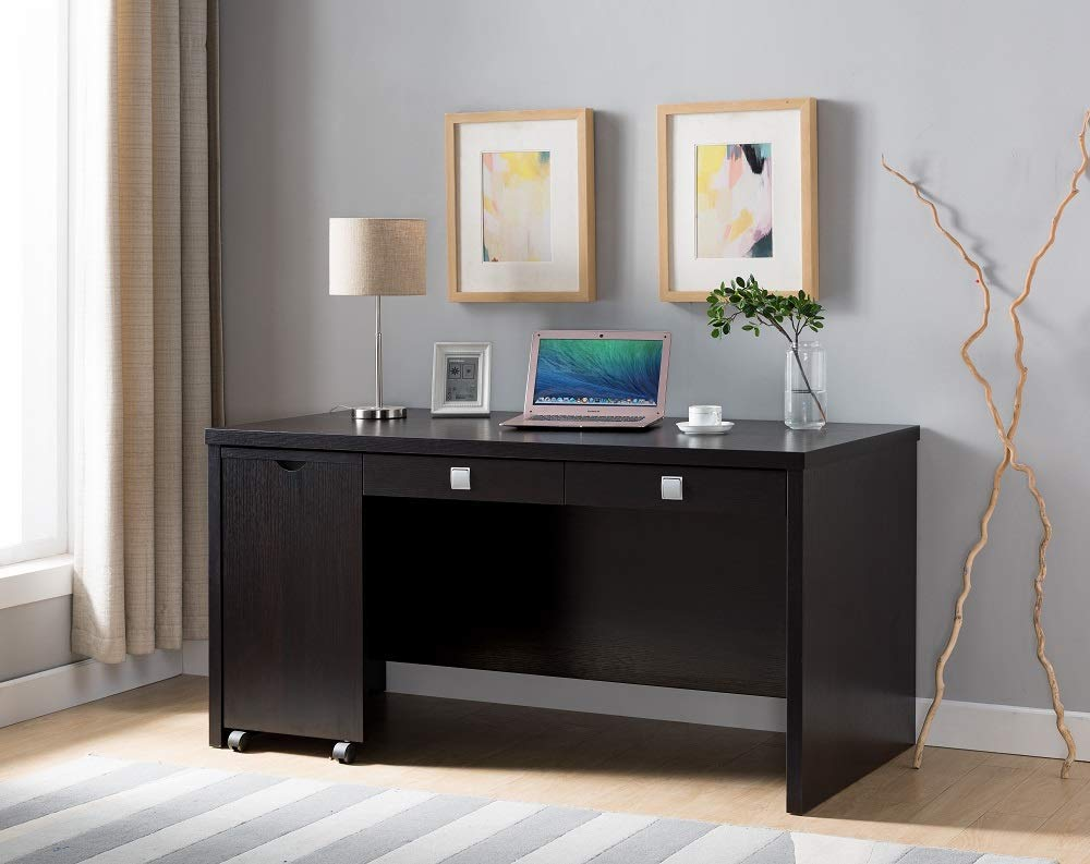 """Major-Q Modern Contemporary Design 30"""" H Home Office Wooden Desk Workstation Espresso Finish with Drawers and a Side Pull Out Table with Wheels (ID80171971)"""