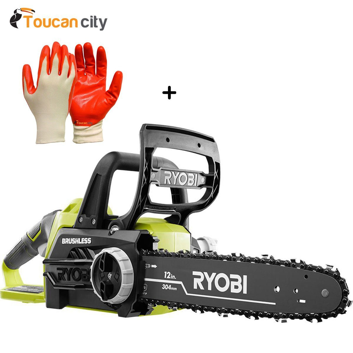 Toucan City Ryobi 12 in. 18-Volt Brushless Lithium-Ion Electric Cordless Chainsaw - Battery and Charger Not Included P548A and Nitrile Dip Gloves(5-Pack)