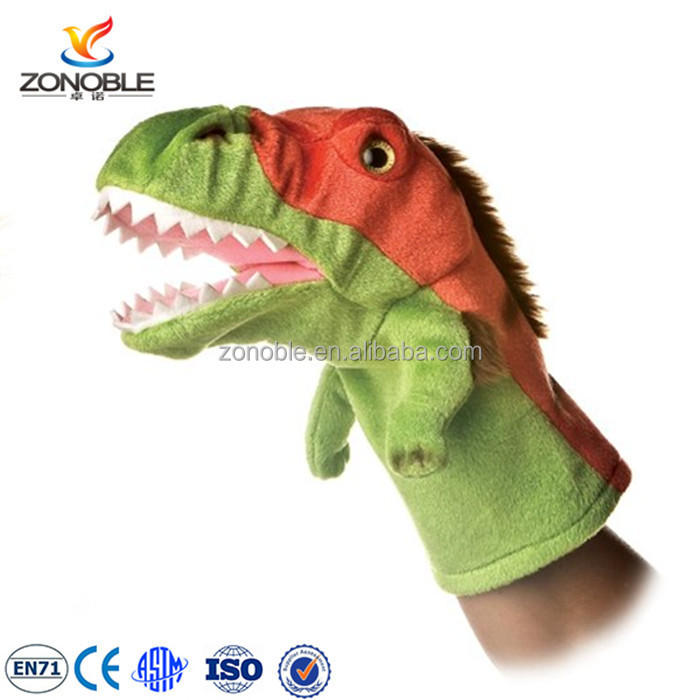 New design kids toys puppet high quality stuffed animal toy plush dinosaur costume puppet