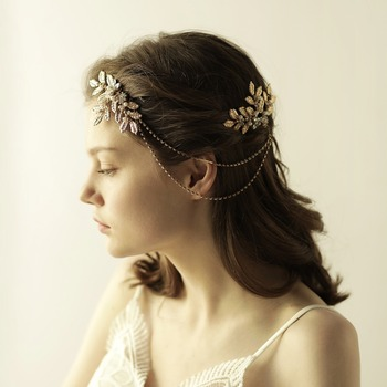 Gold Flowers Rhinestone Crystals Wedding Hair Accessories Bride Bridal Fl Chain Comb Head Pieces