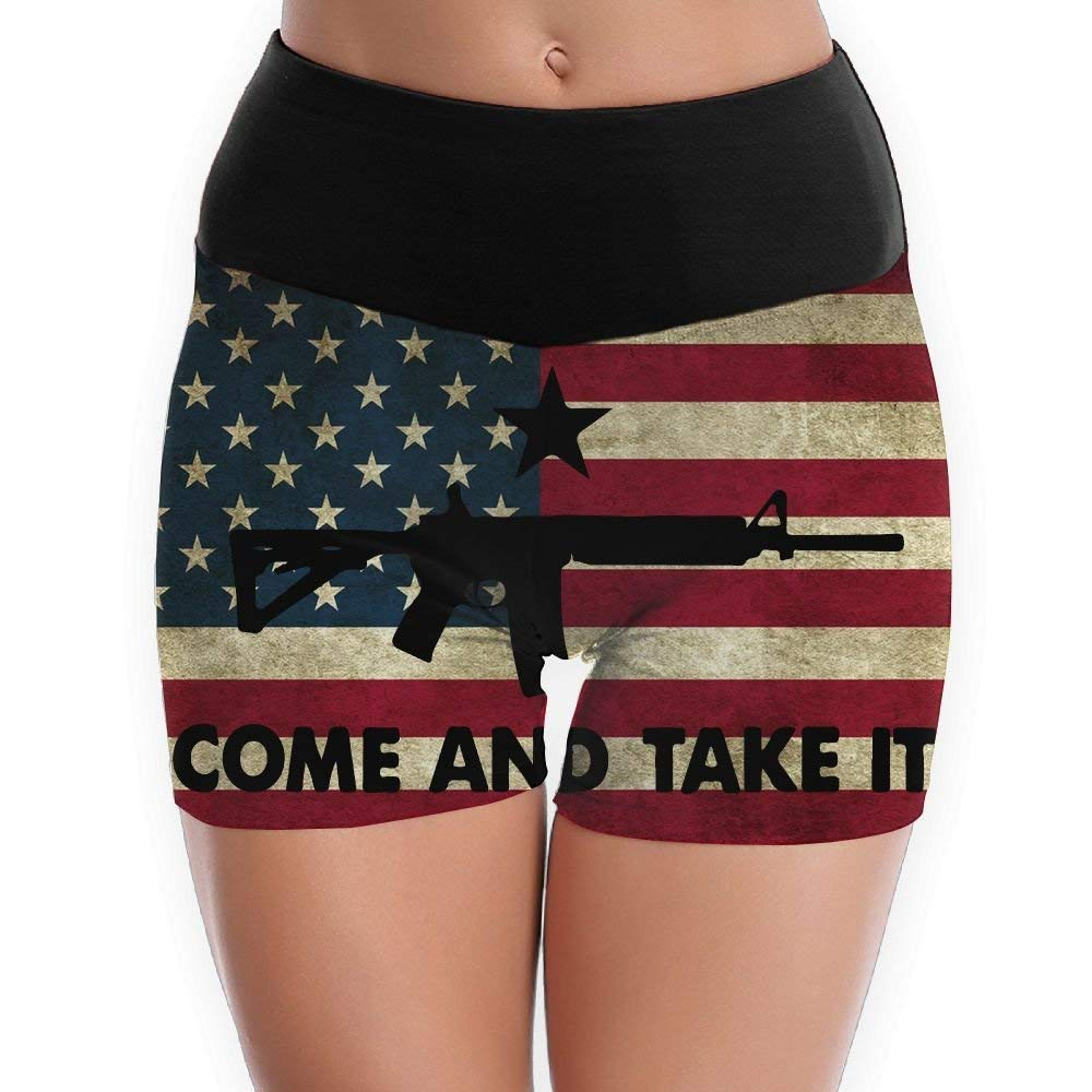 Second Amendment State Flag -2nd Amendment Yoga Shorts For Women Tummy Control Workout Running Shorts Pants Yoga Short