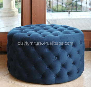 Velvet Fabric Tufted Pouf Ottoman Blue Round Chesterfield