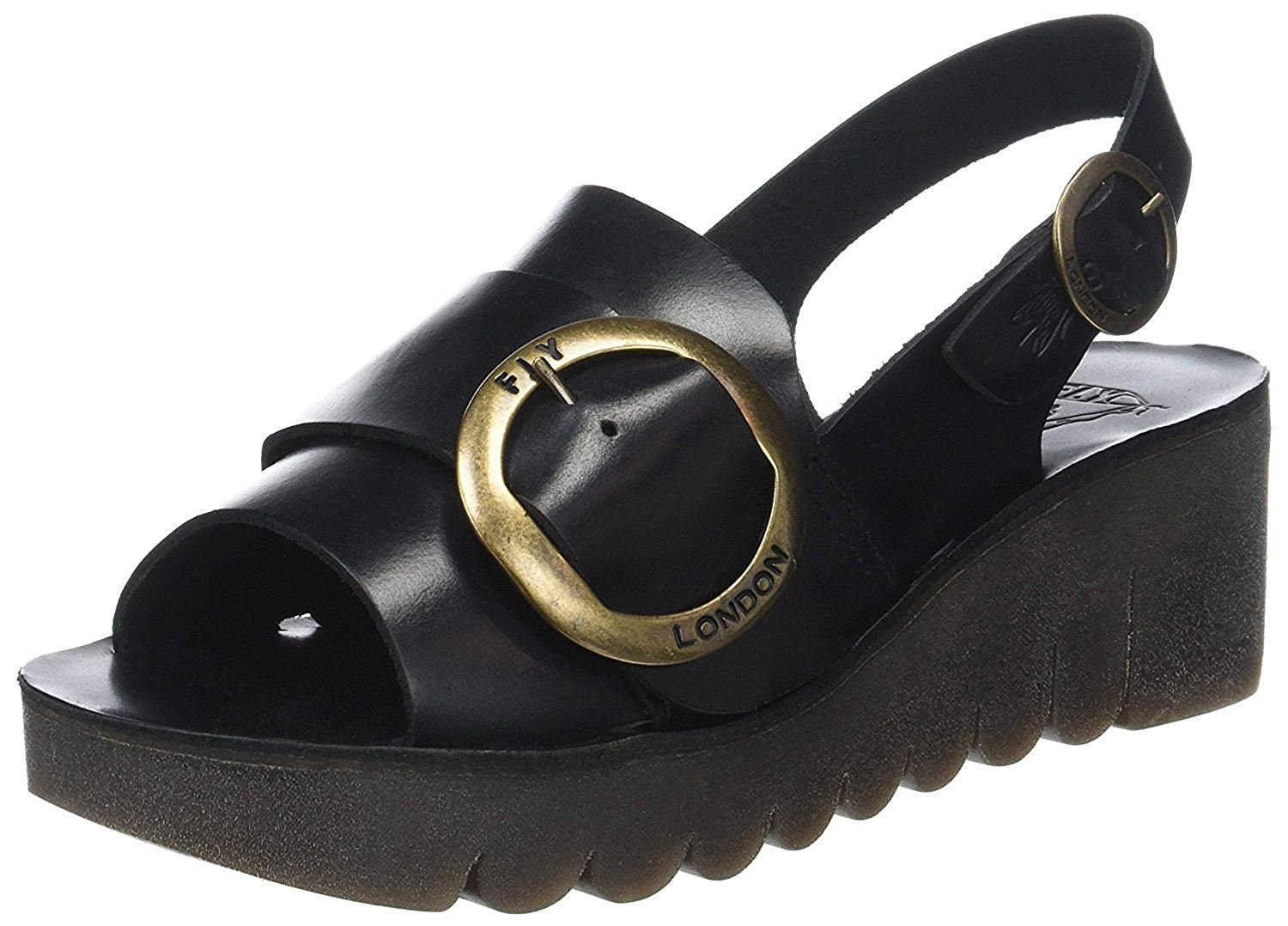 c2e4c67b2fa2 Get Quotations ·  Fly London Yidi190fly Black Leather Womens Wedge Sandals  Shoes