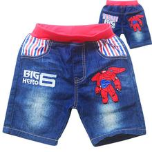 Big Hero 6 Baymax Fashion Kids Shorts Cartoon Jeans Children Boys Clothes Summer Denim Pant Embroidered Washing Soft denim Short
