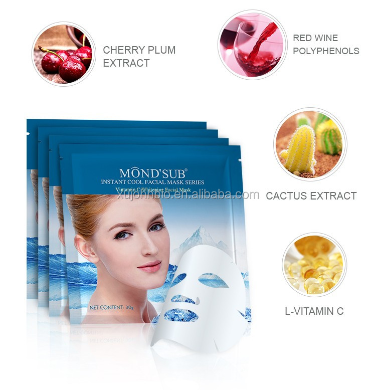 Hot sale Instant Cool Silk Whitening Moisturizing Facial Mask 3 layers facial mask