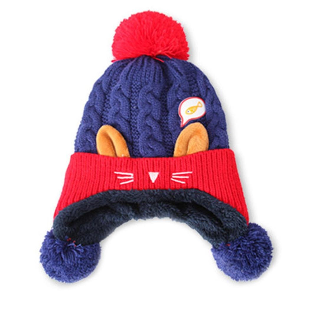 65fd620a2ec Get Quotations · Inverlee Toddler Winter Baby Warm Hairball Cap Earflap  Beanie Hat Earflap Beanie Cap Beret