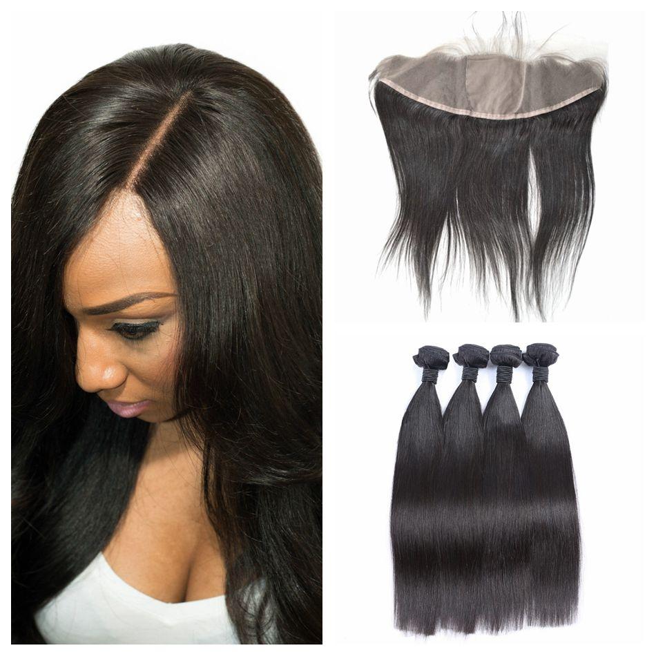 Virgin European Human Hair Weaves 8 30inch 13x4 Straight Silk Base