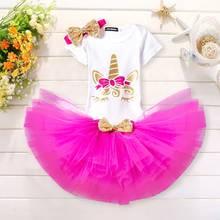 Платье для дня рождения с единорогом Одежда для маленьких девочек вечерние наряды принцессы на день рождения для маленьких девочек возраст...(Китай)