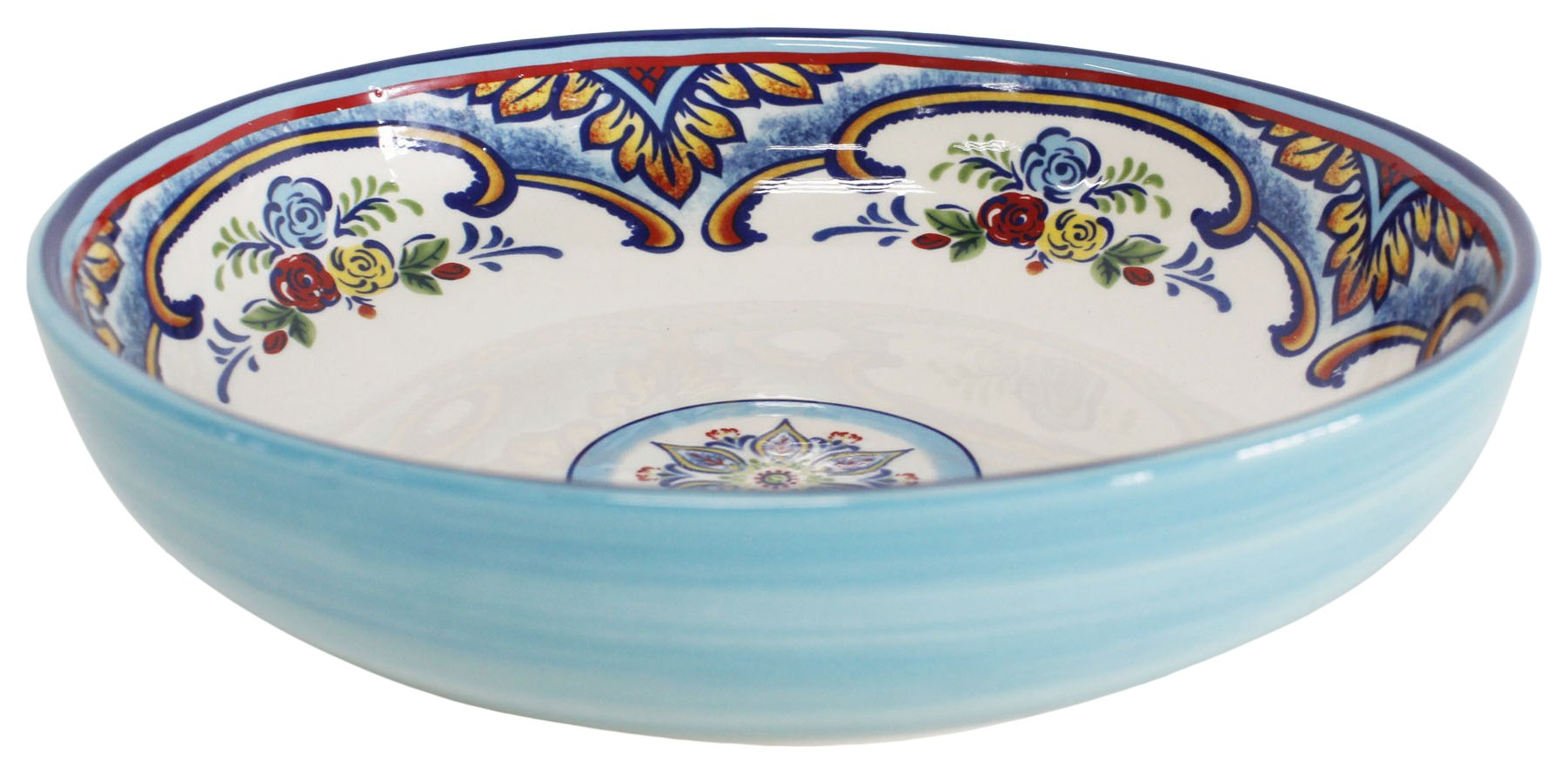 "Euro Ceramica Zanzibar Collection Vibrant 8.4"" Ceramic Pasta/Dining Bowls, Set of 4, Spanish Floral Design, Multicolor"
