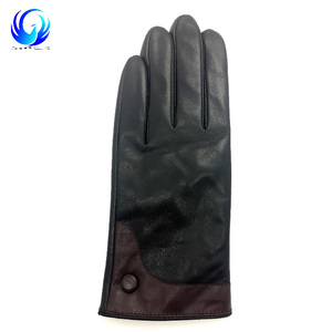 Black men winter warm leather gloves with cheap price