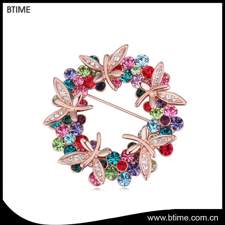 Austria crystal rose gold plating butterfly flower brooch
