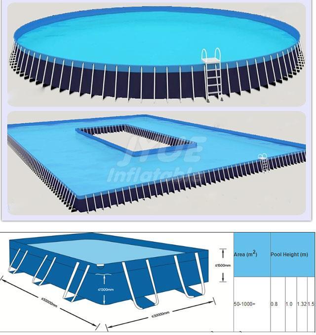 PVC di Cui Sopra Terra Struttura In Metallo Piscina di Acqua Parco Telaio In Acciaio Piscina In Vendita