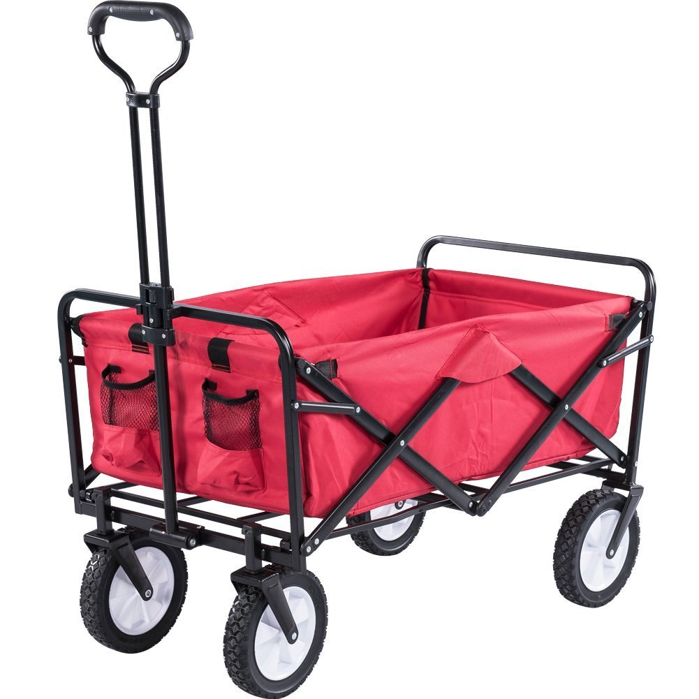 Captivating Serenita Collapsible Garden Cart Folding Utility Wagon Shopping Yard Beach,  Red
