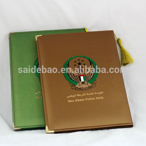 latest executive PU  silver golden stamped logo document holding certificate folder leather certificate holder