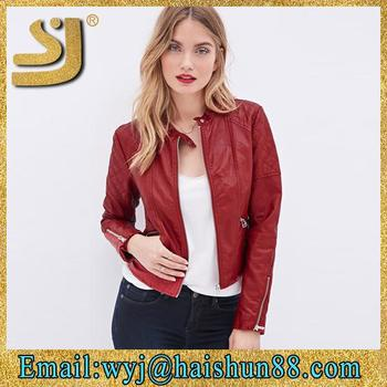 100% Stylish Leather Jacket For Woman,China Supplier Cheap Woman ...