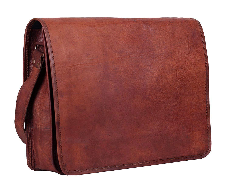 """Leather Store 13"""" inch Full Flap Leather Messenger Bag, Handmade Bag, Laptop Bag Messenger Bag, Satchel Bag Padded Messenger Bag"""