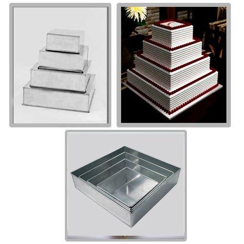 """4 Tier Square Multilayer Wedding Birthday Anniversary Baking Cake Tins Cake Pans 6"""" 8"""" 10"""" 12"""" - EUROTINS"""