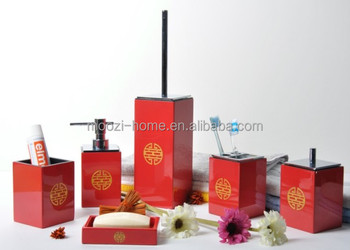 Finest Chinese Traditional Red Bamboo Bath Bathroom Accessories Set Wedding Decoration With Sets